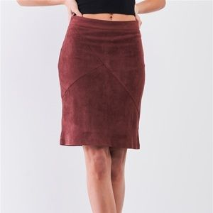 Redwood Faux Suede High-Waisted Stitch Mini Skirt
